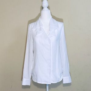 Pre-owned Ann Taylor White Ruffled Blouse Sz 4P